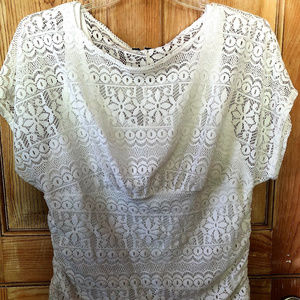 Pretty Cream White Stretch Lace Top w/ Tank EUC 1X